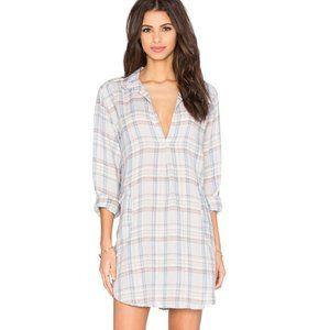 CP SHADES Teton Plaid Linen Tunic Dress M